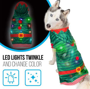 K9 Casuals Dog Christmas Costume with Flashing Lights (Reindeer, Elf, Santa)